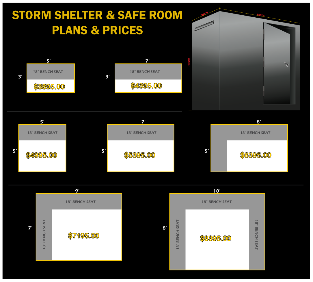 Prices plans residential rsc tornado shelters for Buy safe room